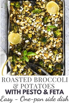 Roasted Broccoli And potatoes is an easy and yummy side dish. Easy to put together these vegetables are seasoned with pesto and garlic. #easy #potatoes #sidedish #broccoli #feta Broccoli And Potatoes, Carrots And Potatoes, Roasted Carrots, Fruit And Veg, Fruits And Veggies, Vegetables, Best Side Dishes, Side Dish Recipes, Dinner Recipes