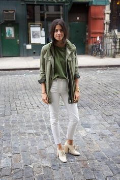 Relaxed and structured, the color palette, the shoes.