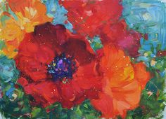 Contemporary ORIGINAL poppy painting by by lisapalombostudios, $695.00