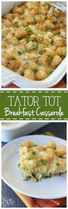 Tator Tot Breakfast Casserole - An easy breakfast casserole filled with breakfast sausage, eggs, pepperjack cheese, green onions and tator tots!