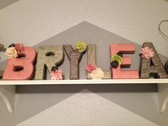 Love the colors here! Hang with cute ribbon to a curtain rod or cherry blossom branch behind crib Yarn Letters, Craft Letters, Cardboard Letters, Nursery Letters, Letter A Crafts, Name Crafts, Diy Ideas, Craft Ideas, Sweet Caroline