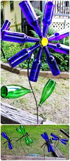 Diy flowers amd dragonfly wine bottle crafts - bells, iron wire, garden crafts - LoveItSoMuch.com