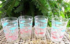 4 MID CENTURY ATOMIC AQUA & PINK FISH SWANKY SWIG JUICE GLASSES