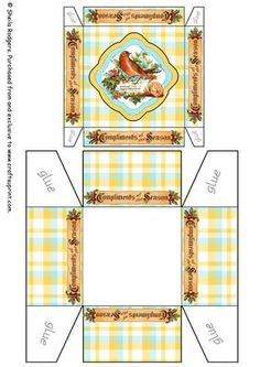 """Tartan Christmas Gift Box 3 on Craftsuprint designed by Sheila Rodgers - A pastel tartan gift box with an image of a robin on a log and banners around the sides saying """"Compliments of the Season"""". - Now available for download!"""