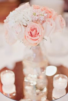 pretty centerpieces, blush and white