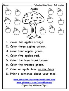 Free following directions worksheet provides practice with color and number words. Complete unit for Following Directions Fall Edition is at www.creativeclassroomconnections.com.