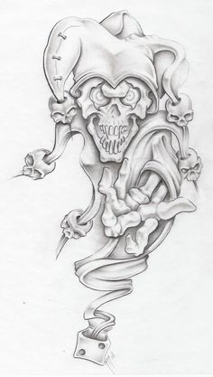 evil jester II by markfellows on DeviantArt - coloring 5 - Tattoo Design Drawings, Skull Tattoo Design, Tattoo Sketches, Tattoo Designs, Drawing Designs, Tattoo Ideas, Evil Tattoos, Skull Tattoos, Body Art Tattoos