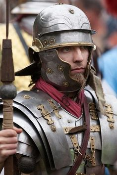 Roman Soldier.  The armor of this reenactor is commented by a viewer as a Lorica Laminata.  Photograph from The Roman's Facebook page.