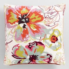 Flourishes of watercolor-inspired tropical blooms grace the front of this printed throw pillow, creating refreshing style you'll adore for your favorite lounging spots.