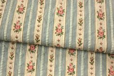 Lovely French floral and stripe brocade fabric silk and cotton ~ blue and pink ~ www.textiletrunk.com