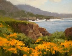 California Poppies by Laurie Kersey Oil ~ 11 x 14 Landscape Paintings, Western Artwork, Ocean Painting, Impressionist Art, Coastal Painting, Oil Painting Landscape, Beautiful Landscapes, Seascape Paintings, Landscape Art