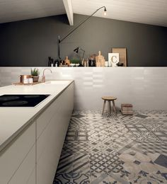 Casablanca Mono Decor Square tiles by Mandarin Stone kitchen design
