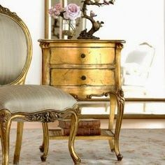 French Provençal gold end table. You don't have to use furniture, etc specifically what it's designed for; use where you want, in any room! Gold Furniture, French Furniture, Distressed Furniture, Crate Furniture, Plywood Furniture, Repurposed Furniture, Accent Furniture, Office Furniture, Vintage Furniture