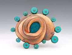"Annie Pennington - ""Phagocytosis"" brooch - sterling silver, copper, felt, polymer clay, colour pencil"