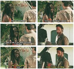 Michonne as played by Danai Gurira and Rick Grimes as played by Andrew Lincoln | The Walking Dead