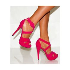 LADIES HOT FUSCHIA BRIGHT PINK SUEDE COURT PLATFORM SHOES HIGH HEELS SIZES 3-8 found on Polyvore