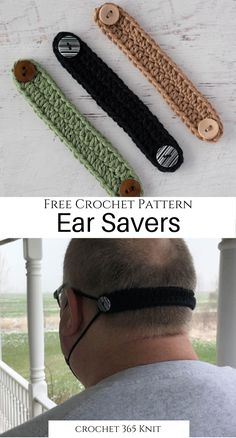 What a super easy and cute way to get those uncomfortable elastics off your ears! and crafts crochet clothing and accessories Crochet Ear Savers - Crochet 365 Knit Too Crochet Simple, Free Crochet, Knit Crochet, Crochet Beanie, Crochet Mask, Crochet Faces, Crochet Crafts, Crochet Projects, Crochet Stitches