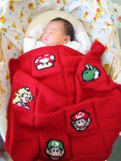 Geek Nintendo Baby Blanket -- Mario and friends