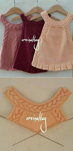 Stricken This Pin was discovered by Mildred Del Castillo Càrdenas. Discover (and save! Crochet Vest Pattern, Baby Knitting Patterns, Lace Knitting, Knitting Stitches, Baby Patterns, Knit Crochet, Crochet Patterns, Knitting Ideas, Crochet Ideas