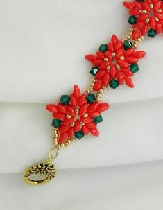 """SuperDuo Poinsettia bracelet"" by LS4Swarovski on Etsy"