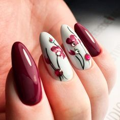 Best Burgundy Floral Nail Art Ideas picture 2 kunst blumen Mouth-Watering Shades of Burgundy Nail Polish Nail Art Designs, Latest Nail Designs, Acrylic Nail Designs, Nails Design, Acrylic Nails, Glitter Acrylics, Pedicure Designs, Matte Nails, Coffin Nails
