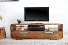 """Massives Design TV-Lowboard CUBE Palisander Sheesham 130cm 2 Schubladen - Ein weiteres Schmuckstück in der """"CUBE"""" Serie. Das TV-Lowboard mit den runden Ecken aus hochwertigem Sheesham – Holz (aus der"""