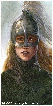 "Eowyn - John Howe (I always thought this would also be a great representation of Orual in C. S. Lewis' ""Till We Have Faces"")"