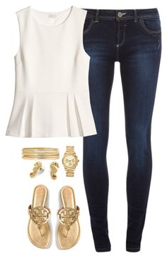 """""""Gold & peplum"""" by classycathleen ❤ liked on Polyvore featuring Michael Kors, Dorothy Perkins, Liz Claiborne, C. Wonder, H&M and Tory Burch"""