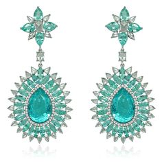 The show-stopping Sutra earrings are set with 39 carats of blue-green Paraibas the colour of a tropical sea.