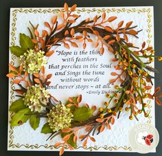Exquisite wreath created by Susan Tierney-Cockburn of Susan's Garden Club - using CountryScapes - The Woods 1, Susan's Garden - Hydrangea, Els van de Burgt Studio - Leafy Branch, Els van de Burgt Studio - Berry Branch, Peel-Off Stickers, and Embossing Folder - Spring Leaves. Find the supplies here: http://www.elizabethcraftdesigns.com/collections/susans-garden