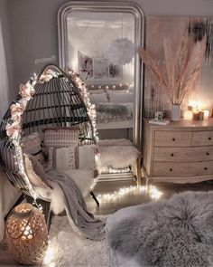 Cute Room Decor, Aesthetic Room Decor, Swinging Chair, Swing Chair For Bedroom, Cozy Room, Stylish Home Decor, My New Room, Home Decor Bedroom, Bedroom Ideas