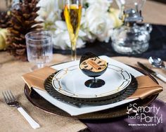 Rustic glam fall place setting with burlap overlay by #Smartyhadaparty.