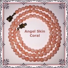 """VTG Natural Pink Angel Skin Coral Beaded Necklace! Vintage Natural Carved Pink Angel Skin Coral Beaded Necklace! Gorgeous piece that hangs approx. 8"""" long around the neck & measures 17"""" end to end. Features a total of approx. 108 natural light salmon pink coral beads, 4cm beads with a brass twist gold closure. Weighs approx 10.82 grams. Tested positive for coral using solvent vinegar test. It is not made of stone, glass or any form of plastic & the beads are an all natural, un-dyed pink…"""
