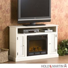 Holly & Martin Savannah Media Electric Fireplace-Antique White|yourstylefurnishings.com