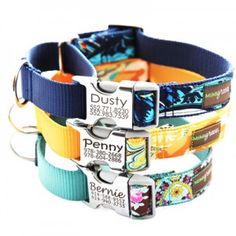 Metal Buckle Engraved Dog Collar *5 Laminated Cotton Style~I really think I'll get one for Macy! (Rabies tag and name tag won't jingle anymore since this collar eliminates the name tag.) Custom Dog Collars, Personalized Dog Collars, Pet Collars, Designer Dog Collars, Martingale Dog Collar, Dog Safety, Large Dogs, Mans Best Friend, Fur Babies