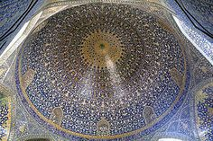 "Imam Mosque, Isfahan, Iran, Naghsh-i Jahan Square.  ""Interior view of the lofty dome covered with polychrome tiles, intended to give the spectator a sense of heavenly transcendence."" c 1611"