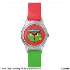 Shop Oscar Face Throwing a Kiss Wrist Watch created by SesameStreet. Oscar The Grouch, Presents For Kids, Disney Ears, Watch Faces, Cool Gifts, Fashion Accessories, Kiss, Kawaii Things, Watches