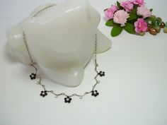 Vintage crystal necklace beaded necklace tiny by MoniceBoutique