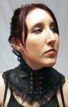 Black Leather High Back Neck Corset, Steel Boning, Black Leather String-Lace - Front View