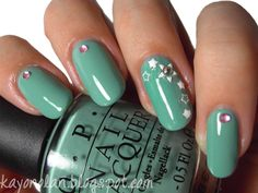 OPI Mermaid's Spell with simple nail art