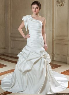 Wedding Dresses - $228.99 - Trumpet/Mermaid One-Shoulder Chapel Train Satin Wedding Dress With Ruffle (002011500) http://jjshouse.com/Trumpet-Mermaid-One-Shoulder-Chapel-Train-Satin-Wedding-Dress-With-Ruffle-002011500-g11500