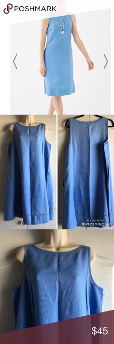 2017 J. Jill Love Linen A Line Dress 2017 Love Linen A-Line Sleeveless Dress  New with tag!  Versatile linen boat-neck dress has ladder-stitch insets at the neckline and hemline. Side insets. On-seam pockets. Great paired with a cardigan for cooler weather or on its own for warmer weather.  Above-knee length.  Sleeveless.  Machine wash, tumble dry, low.  Imported.  Measurements laying flat:  Armpit to armpit 21 inches.  Shoulder to bottom 38.5 inches. J. Jill Dresses Midi