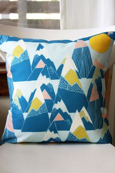 Mountain Pillow Cover by Leah Duncan. I love that fabric! Textiles, Textile Patterns, Print Patterns, Cushion Covers, Throw Pillow Covers, Throw Pillows, Cushion Pillow, House Design Photos, Pillow Fight