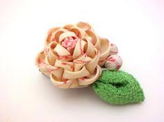 White Pink Peony Hair clip Tsumami kanzashi Peony by JagataraArt