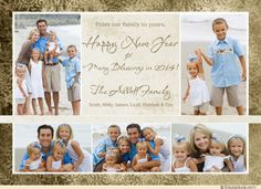 Vintage New Year Photo Card - 2014 Family Gold & Cream
