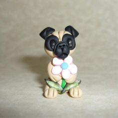 *POLYMER CLAY ~ Miniature Fawn Chinese Pug Figurine Polymer Clay Figure