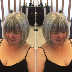 Gray Bob With Blunt Bangs