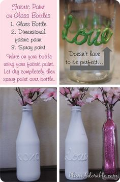 fabric paint on glass bottles