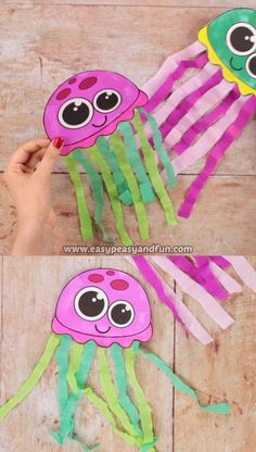 What we love the most about this tissue paper jellyfish craft is how it dances in the air! Hang it on a string and watch the magic every time there is a breeze (or the air conditioning is on). is love videos Tissue Paper Jellyfish Craft Summer Crafts For Kids, Paper Crafts For Kids, Crafts For Kids To Make, Art For Kids, Arts And Crafts, Kids Diy, Craft Activities, Preschool Crafts, Health Activities