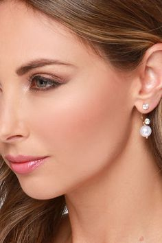 Bright and Pearly Gold Rhinestone Ear Jackets at Lulus.com!